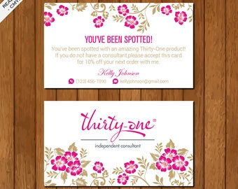 Thirty One You've Been Spotted Business Card, Printable Files, Elegant Business Card, Pink Flowers, TO01