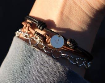 Hand Stamped Leather Bracelet - Custom Letter - Adjustable