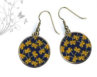 Earrings, geometry, blue, yellow, butterflies, bows, summer jewelry