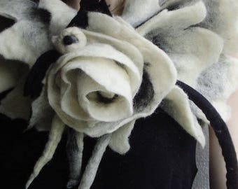 Nuno felted Scarf White Black Wool Silk Shawl with Flower Necklace