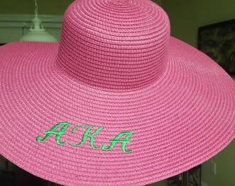 AKA Monogrammed Floppy Sun Hat
