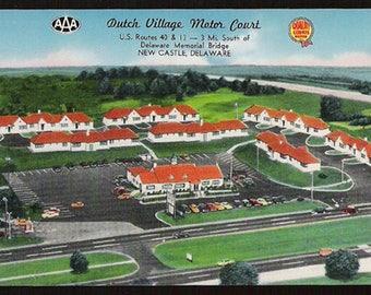 New Castle Delaware Postcard Dutch Village Motor Court Motel Advertising DE PC