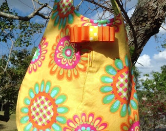Puppy vest yellow  floral with bow handmade