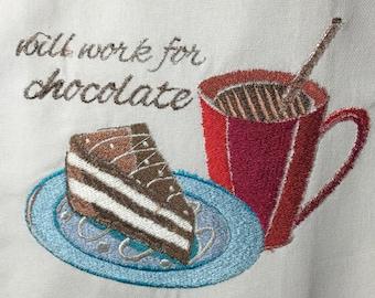 Will Work for Chocolate Tea Towel