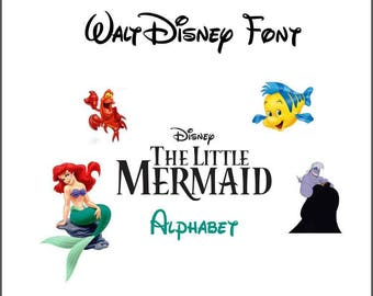 Little Mermaid svg,alphabet disney,font trolls svg,cricut,silhouette,digital,svg,png,eps,ai,dxf,letters monogram,birthday,invitation,stencil