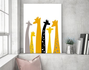 Nursery wall art, giraffe canvas, giraffe nursery, animal print, giraffe nursery decor, giraffe gift, nursery canvas, giraffe, nursery print