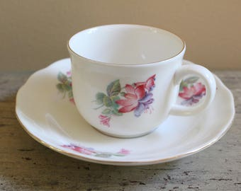 English Demitasse and Saucer with Fuschias