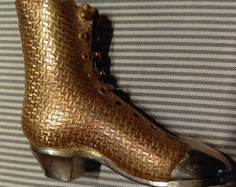 Victorian style brass boot       Vintage boot figure