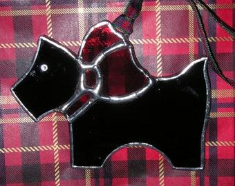 Black Scottie Dog, Stained Glass Suncatcher, Handmade in England