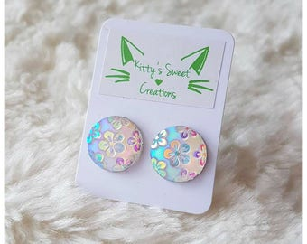 Holographic Floral Stud Earrings