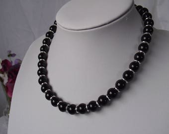 Black Agate Necklace with Sterling Silver Bolt Ring Clasp