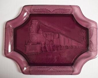 Canton Glass Railroad Tray/Platter