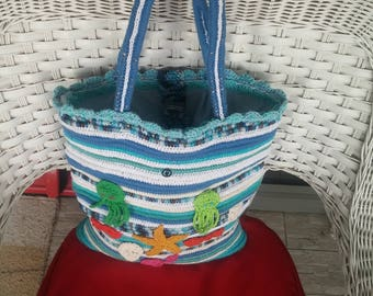 Summer bag, Handmade bag,  Crochet bag, Beach bag,  Knit bag, Crochet rope handbag, Sea creatures, Gift for her, Ocean handbag, Tote hadbags