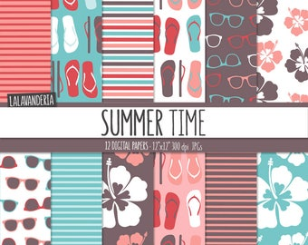 Summer Digital Paper Package with Beach Patterns. Printable Papers Set. Flip Flops, Sunglasses and Hibiscus Backgrounds. Digital Scrapbook