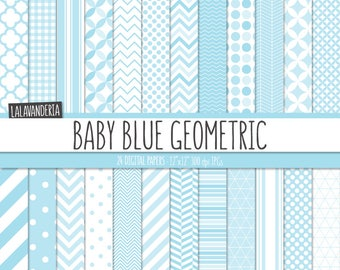 Geometric Digital Paper Package with Baby Blue Backgrounds. Printable Papers Set - Baby Boy Patterns. Digital Scrapbook. Instant Download