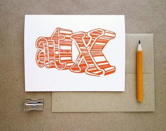 Linocut Greeting Card // Austin Card // ATX // SXSW // Austin Texas // Austin Postcard