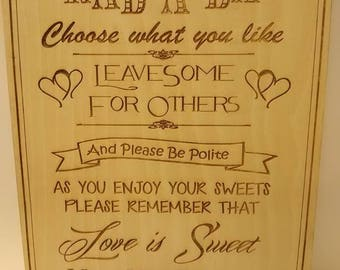 Sweet Stall Sign, Sweet Table Sign, Personalised Candy cart Sign, Wedding Sign