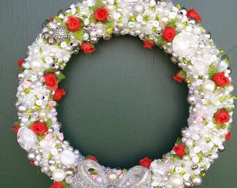 White and Red with Crystals Wreath