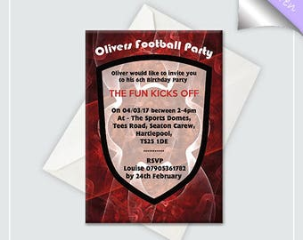 Rouge Football Birthday Invitation x10