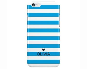 Personalised Name initials white blue stripes Phone Case Cover for Apple iPhone 5 6 6s 7 8 Plus & Samsung Galaxy Customized Monogram