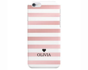 Personalised Name initials Rose Gold White Stripes Phone Case Cover for Apple iPhone 5 6 6s 7 8 Plus & Samsung Galaxy Customized Monogram