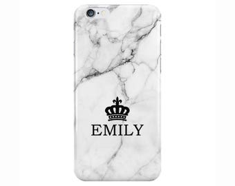 Personalised Name initials White Marble Phone Case for Apple iPhone 5 6 7 Plus & Samsung Galaxy Personalized Customized Monogram