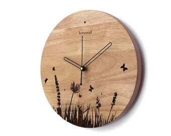 Modern Wooden Wall Clock - Vine E