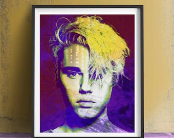 Justin Bieber Art Print or Canvas, Wall Art, Artwork, Painting, Gift