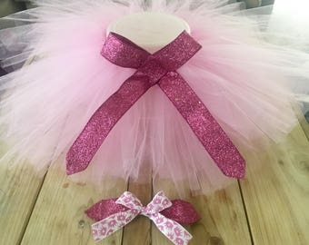 Pink glitz tutu and bow set glitter crown