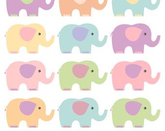 Elephants Clipart Pastel Elephants Clip Art Baby Shower Clipart Nursery Art