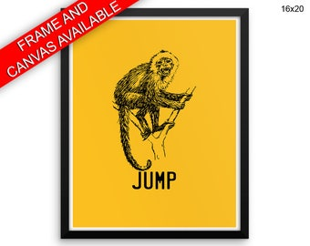 Monkey Wall Art Framed Jump Canvas Print Monkey Framed Wall Art Jump Poster Monkey Living Room Art Jump Living Room Print Monkey wild