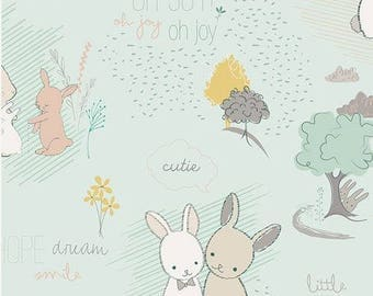 Furry Tales Misty Cotton Fabric - Littlest Collection  - Art Gallery Fabrics - Nursery Baby Quilt  Fabric