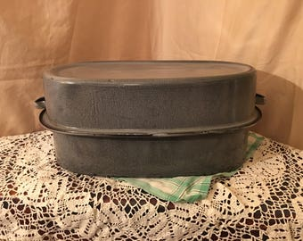 RARE antique Mottled Grey Graniteware Turkey Pan