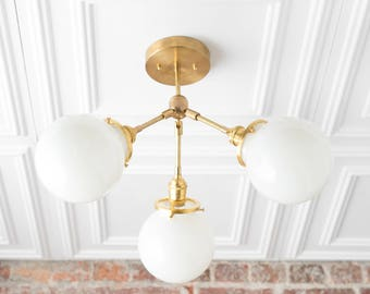Semi Flush Globe Light - Ceiling Hanging Lamp - Dining Room Lighting - Brass Fixture - Opal Glass - Flush Mount