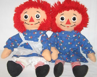"Vintage Raggedy Ann 2 Dolls Lot Made By Hasbro Playskool In 1987***18"" Dolls***Items # 70105"