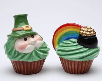 Leprechaun Cupcake Salt and Pepper Shaker Set