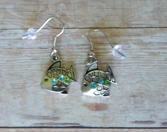 Tropical Gem Fish Earrings, Silver Plated