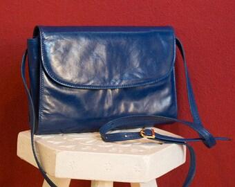 Vintage 70's Real Leather Blue Bag