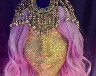 festival headpiece - gypsy headdress - tribal headband - vintage kuchi tassel detail - vintage coin - glass beads - boho
