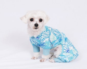 Blue and Sage Sea Shells Print Pajama