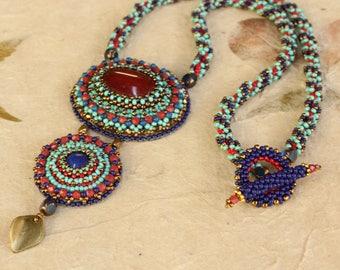 Lapis Lazuli and Carnelian beaded Necklace.