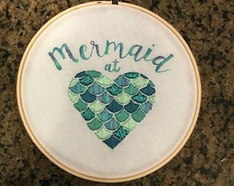 Mermaid at Heart embroidered hoop