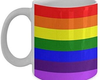 Rainbow Coffee Mug - Rainbow Flag Mug - Rainbow Mug - Rainbow Gifts- Rainbow Flag
