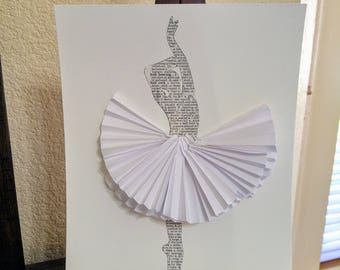 Book Page Ballet Dancer with White Skirt