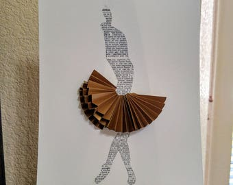 Book Page Ballet Dancer with Gold Skirt