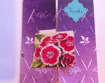 Set of 2 purple floral thank you cards