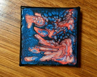Blue and Orange Hand Painted 2x2 Canvas Panel Magnet