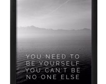 Oasis you need to be yourself framed lyric print