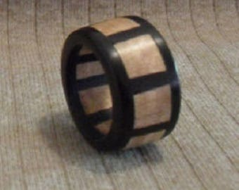 Hand made Wood Ring - Ebony and Maple Burl 8 sided ring- Men's Wood Rings, Women's Wood Rings, Wedding Bands, Wooden Rings