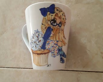 Porcelain hand painted mug